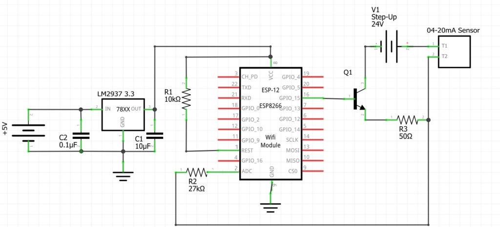 Schaltplan des neuen Zisternen-Sensors mit Wasserdrucksensor